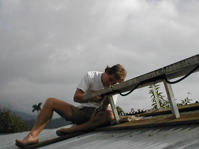 Me working on a solar panel in Costa Rica